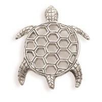 "9"" Silver Metal Sea Turtle Trivet"