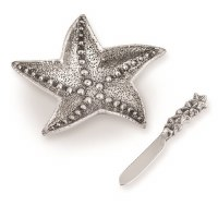 """7"""" Silver Metal Starfish Dip Dish With Matching Silver Spreader"""