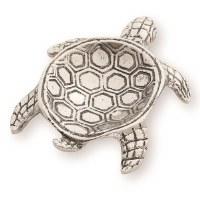 """6"""" Silver Metal Sea Turtle Spoon Rest"""