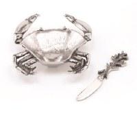 """6"""" Silver Metal Crab Dip Dish With Silver Coral Spreader"""