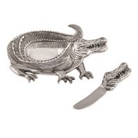 """8"""" Silver Metal Alligator Dip Dish With Matching Silver Spreader"""