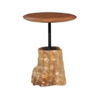"18"" Round Teak Wood Table With Wood Stump Base"