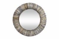 """35"""" Round Natural Gray Banana Leaf Rope Wall Mirror"""