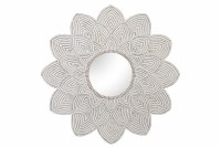 """48"""" Round Whitewashed Wood Floral Wall Mirror"""