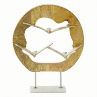"""15"""" Silver Metal Seagull Trio in Wood Log Sculpture With Marble Base"""