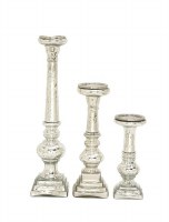 Set of 3 Silver and Glass Pillar Candle Holders