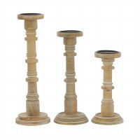 Set of 3 Whitewashed Brown Wood Pillar Candle Holders