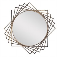 """42"""" Round Gold Metal Squares Wall Mirror"""