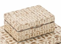 """6"""" x 8""""  Gold Mother of Pearl Mosaic Box With Lid"""