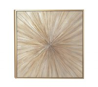 """39"""" Square Taupe and Gold Sunburst Canvas Wall Art in Gold Wood Float Frame"""