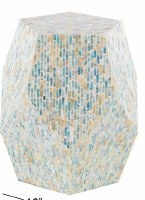 """16"""" Round Blue and Natural Mother of Pearl Mosaic Geometric Accent Table"""