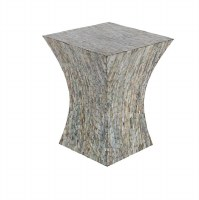 """15"""" Square Mother of Pearl Mosaic Accent Table"""