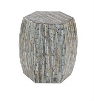 """16"""" Round Mother of Pearl Mosaic Hex Accent Table"""