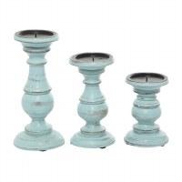 Set of 3 Distressed Light Blue Wood Pillar Candle Holders