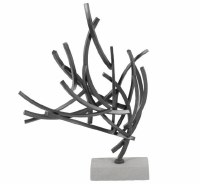 """24"""" Gray Metal Tree Arcs Sculpture With Cement Base"""