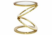 """16"""" Round Gold Metal Circle Links Accent Table With Glass Inlay"""
