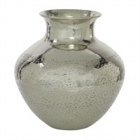 "13"" Silver Metal Half Textured Vase"