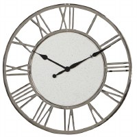 """24"""" Round Silver Metal Terrazo Wall Clock With Roman Numerals"""