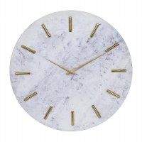 """20"""" Round White Marble Gold Accented Wall Clock"""