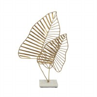 """17"""" Gold Metal Tropical Leaves Sculpture on Marble Base"""