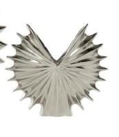 "11"" Silver Fanned Metal Circle Vase"