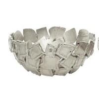 "15"" Round White Silver Metal Squares Openwork Bowl"