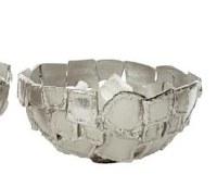 "13"" Round White Silver Metal Squares Openwork Bowl"