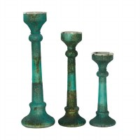 """Set of 3 6"""" Round Antique Turquoise and Textured Glass Pillar Candle Holders"""