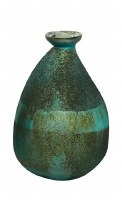 """9"""" Antique Turquoise Green and Textured Glass Banded Vase"""
