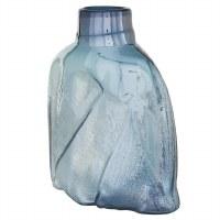 "12"" Blue and Aqua Draped Glass Vase"
