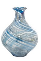 """10"""" Blue and Gray Swirled Curved Glass Vase"""