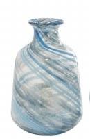 "10"" Blue and Gray Swirled Straight Glass Vase"