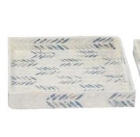 """16"""" Square Blue and White Mother of Pearl Chevron Lacquer Tray"""