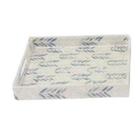 """14"""" Square Blue and White Mother of Pearl Chevron Lacquer Tray"""
