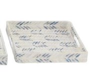 """13"""" Square Blue and White Mother of Pearl Chevron Lacquer Tray"""
