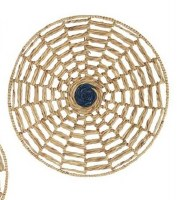 """28"""" Round Natural Seagrass With Navy Center Disk Wall Plaque"""