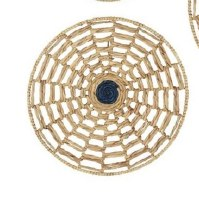 """24"""" Round Natural Seagrass With Navy Center Disk Wall Plaque"""
