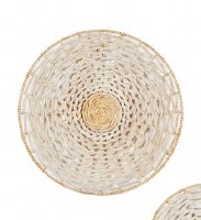 """28"""" Round Cream and Natural Woven Seagrass Disk Wall Plaque"""