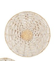 """24"""" Round Cream and Natural Woven Seagrass Disk Wall Plaque"""