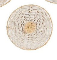 """20"""" Round Cream and Natural Woven Seagrass Disk Wall Plaque"""