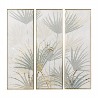 """Set of 3 47"""" x 16"""" Green and Gold Hand Painted Palmetto Canvas Triptych in Gold Frame"""