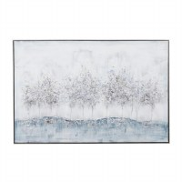 """32"""" x 47"""" Blue and Gray Trees Canvas Wall Art in Gray Frame"""