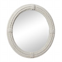 """36"""" Round White Rope Covered Wood Wall Mirror"""