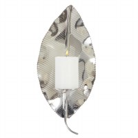 """16"""" Silver Metal Lined Leaf Candle Wall Sconce"""