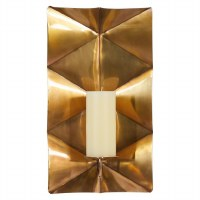 """18"""" Antique Gold Metal Triangle Pattern Candle Wall Sconce"""