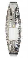 """19"""" Oval Silver Hammered Metal Candle Wall Sconce"""