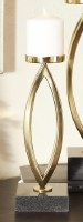 """13"""" Gold Metal Curves Pillar Candle Holder With Black Marble Base"""