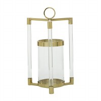 """18"""" Gold Metal and Clear Glass Triple Arm Lantern"""