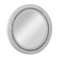 """34"""" Round Whitewashed Wood With Blue Border Wall Mirror"""