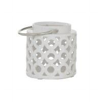 "8"" White Ceramic Open Circles Lantern With Silver Handle"